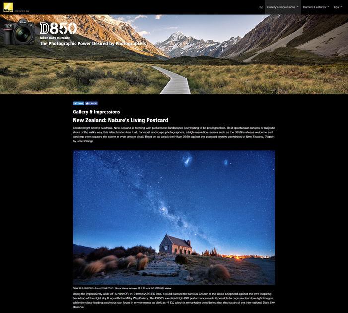 Nikon D850 Microsite